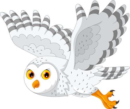 Vector Illustration des schneebedeckten Eulenfliegens der Karikatur, das auf weißem Hintergrund lokalisiert wird Vektorgrafik