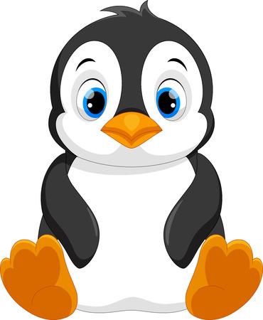 Cute baby penguin cartoon sitting 일러스트