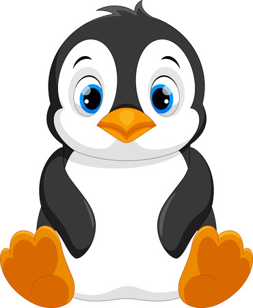 Cute baby penguin cartoon sitting Çizim