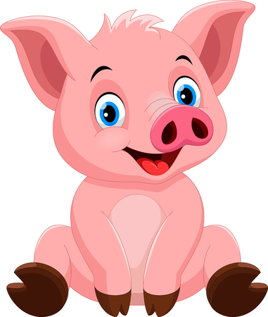 Vector illustration of cute pig cartoon isolated on white background Ilustração