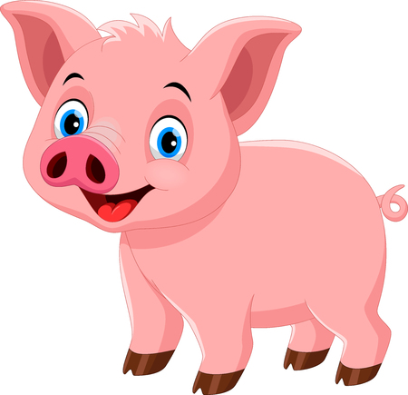 Vector illustration of cute pig cartoon isolated on white background Vectores