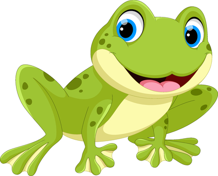 Cute frog cartoon isolated on white background Illusztráció