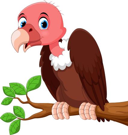Cute vulture bird cartoon on the tree branch