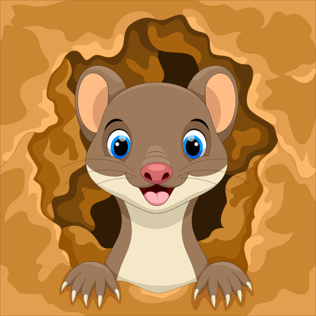 Cute weasel out of the hole Illustration