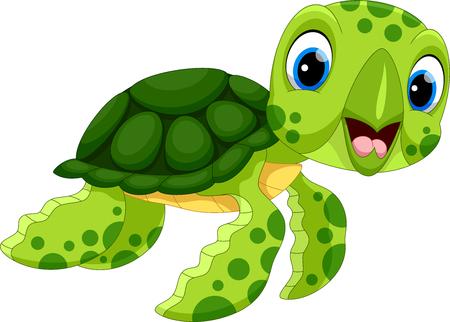 Ilustración de vector de dibujos animados de tortuga lindo aislado sobre fondo blanco Foto de archivo - 91329031