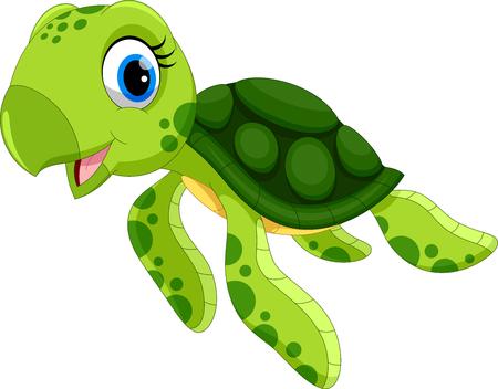 Ilustración de vector de dibujos animados de tortuga lindo aislado sobre fondo blanco