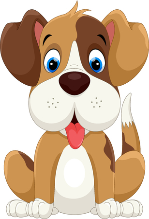 Cute little dog cartoon sitting
