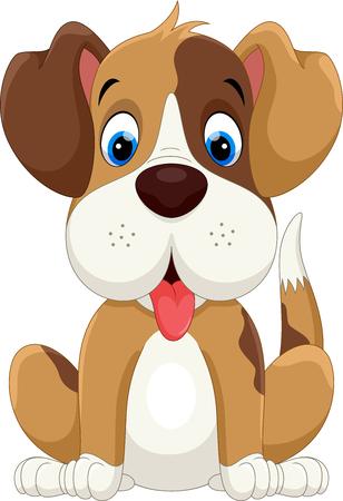 Cute little dog cartoon sitting