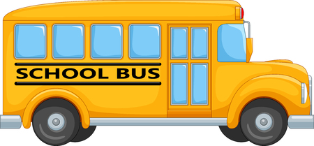Vector illustration of cartoon school bus isolated on white background