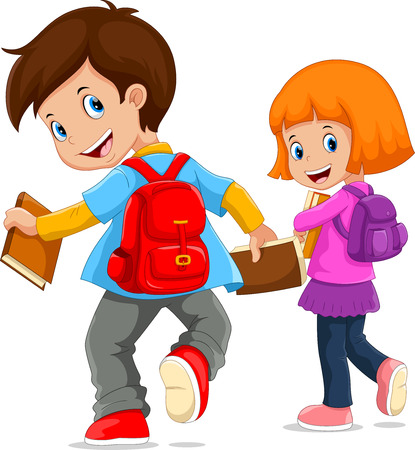 Back to school. Vector illustration of cartoon kids going to school