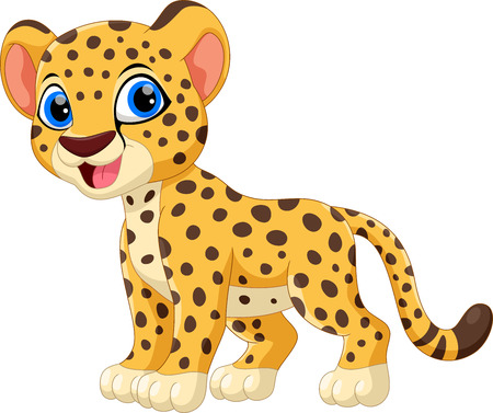 Cute cheetah cartoon isolated on white background Vettoriali