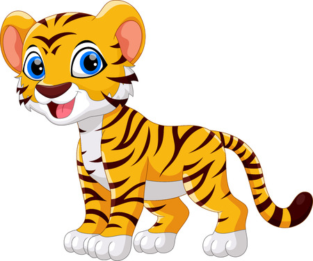 Cute tiger cartoon isolated on white background