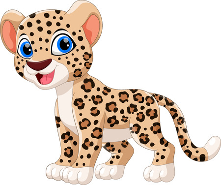 Cute leopard cartoon sitting isolated on white background  イラスト・ベクター素材