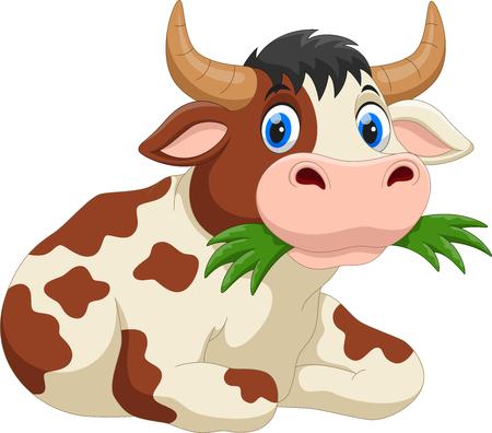Cute cartoon cow eating grass Vettoriali