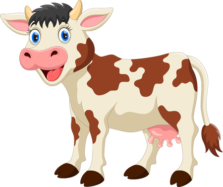 Cute cow cartoon isolated on white background