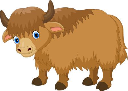 Illustrazione del cartone animato carino yak isolato su sfondo bianco