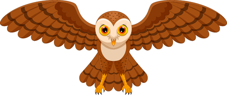 Vector illustration of cute cartoon owl flying isolated on white background
