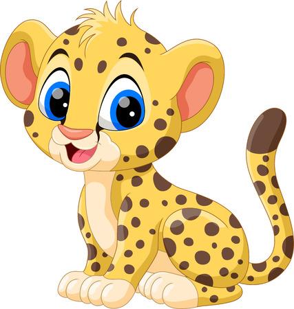 Śliczna kreskówka geparda dla dzieci Ilustracje wektorowe