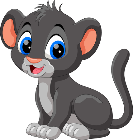 Cute baby panther cartoon