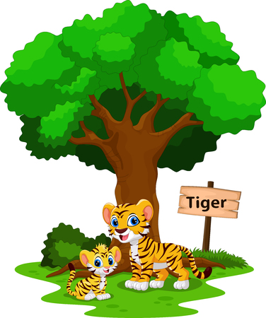 Funny tiger under a shady tree with a sign the identity