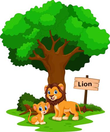 Leone divertente sotto un albero ombreggiato con un segno l'identità
