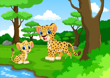 Cheetah cartoon in the forest with his cute son