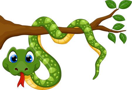 Cute cartoon snake on branch  イラスト・ベクター素材