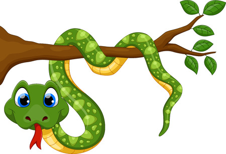 Cute cartoon snake on branch Ilustracja