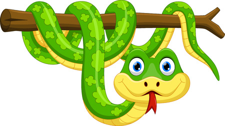 Cute cartoon snake on branch Çizim