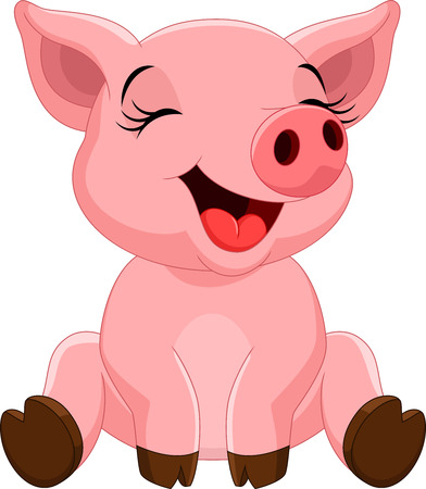 Vector illustration of cute pig cartoon sitting isolated on white background