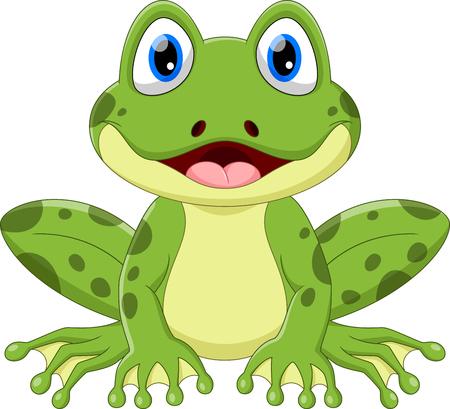 Ilustracja wektorowa ładny kreskówka żaba na białym tle.