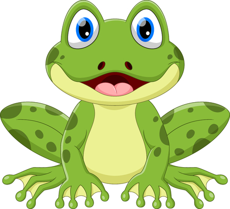 Vector illustration of cute frog cartoon isolated on white background. Иллюстрация