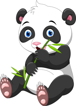 Panda with bamboo isolated on a white background