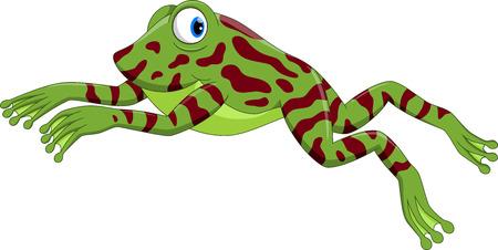 Cute little frog cartoon jumping Illustration