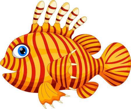 Funny dragonfish cartoon isolated on white background Illustration