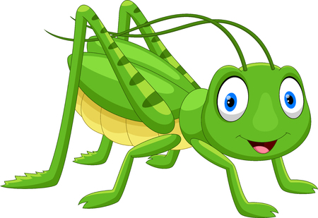 Cute grasshopper cartoon isolated on white background Иллюстрация