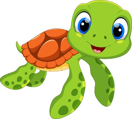 Cartone animato carino tartaruga di mare isolato su priorità bassa bianca Vettoriali