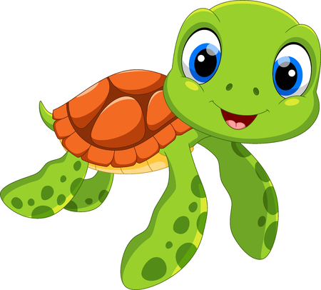Cute sea turtle cartoon isolated on white background 일러스트