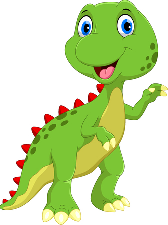 Cute dinosaur cartoon isolated on white background 矢量图像