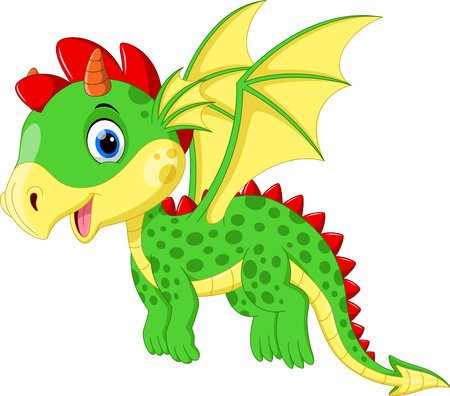 Cute dragon flying Иллюстрация