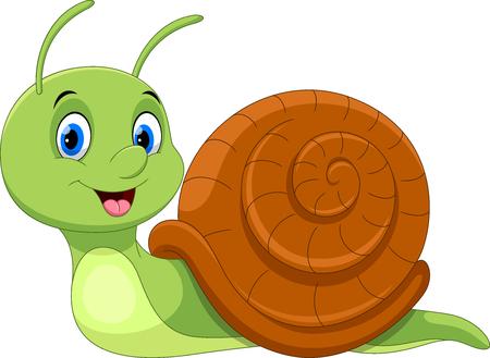Schattige cartoon slak geïsoleerd op een witte achtergrond