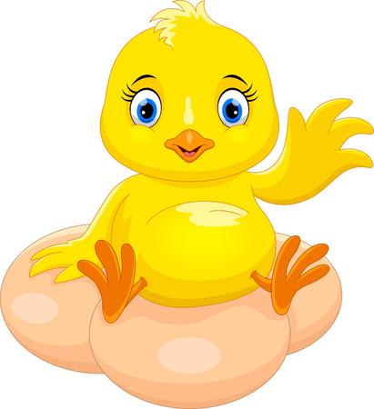 Cute chick cartoon waving Ilustración de vector