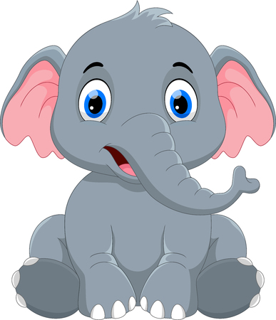Cute baby elephant cartoon sitting Иллюстрация