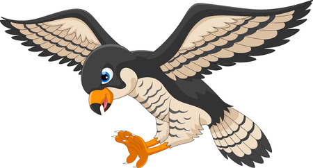 Falcon cartoon flying Vettoriali