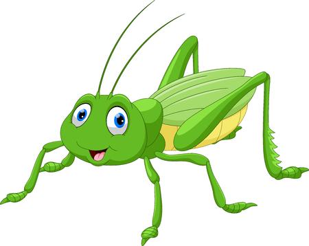 Cute grasshopper cartoon Illustration