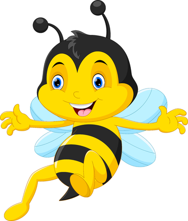 Cute honey bee cartoon flying