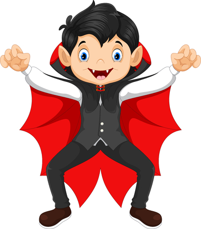 Cute child in a Halloween Vampire costume