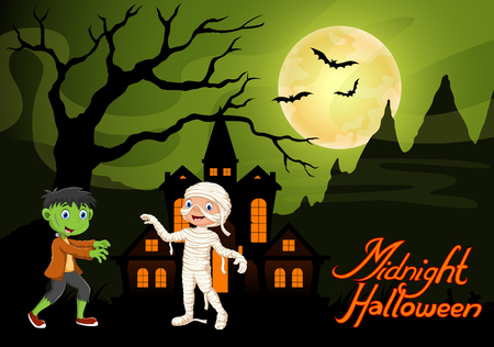 Cute child in a frankenstein and mummy costume. Halloween night background with haunted house and full moon