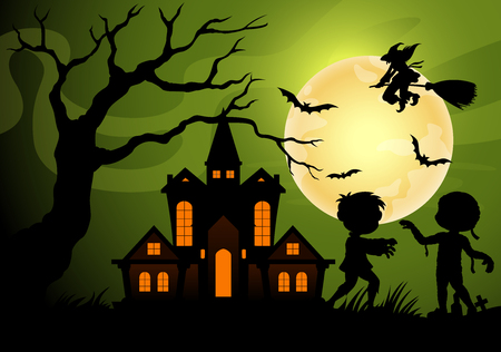 Halloween night background with creepy castle with mummy, frankenstein and witch shadows