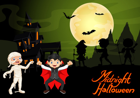 Cute child in a mummy and vampire costume. Halloween night background with haunted house and full moon Ilustrace